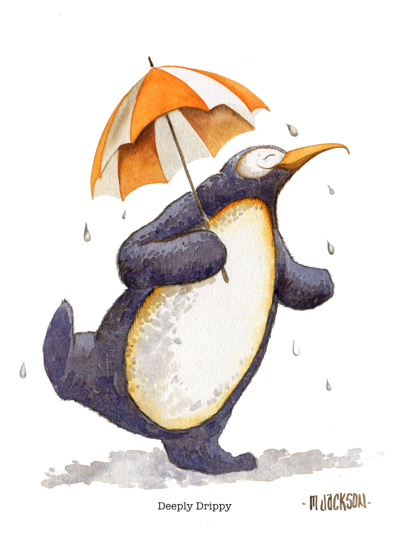 watercolour painting of a penguin with an umbrella and dancing in the rain