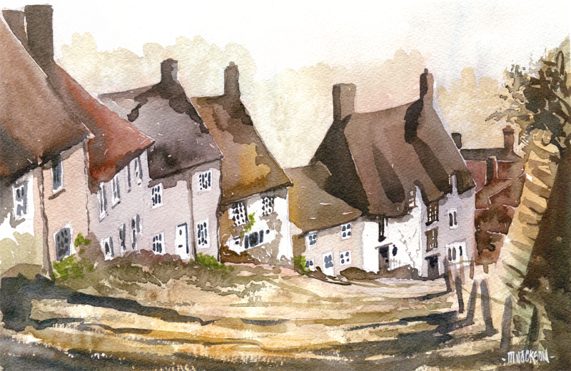 watercolour of gold hill in dorset