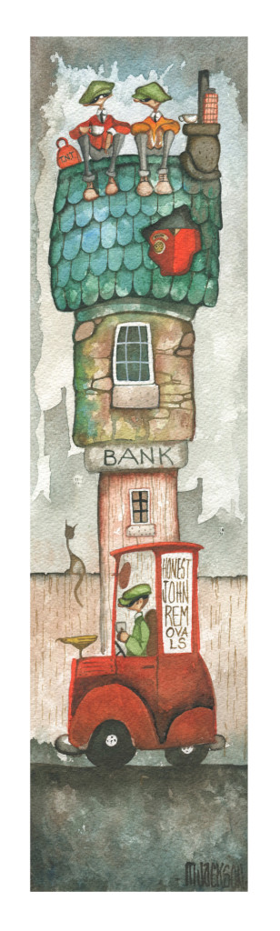 watercolour of robbers on a bank roof
