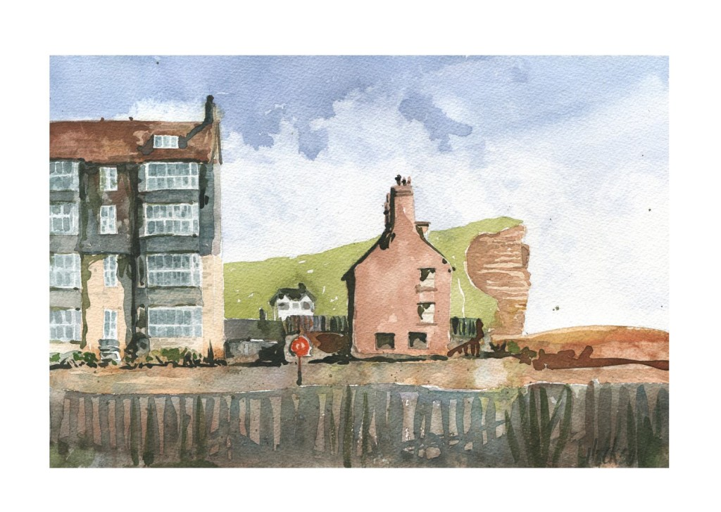 west bay in dorset original watercolour painting